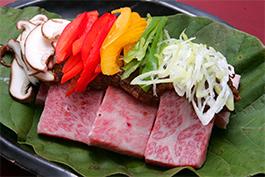 飛騨牛の朴葉味噌ステーキ